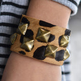 Cheetah Print Leather Studded Cuff