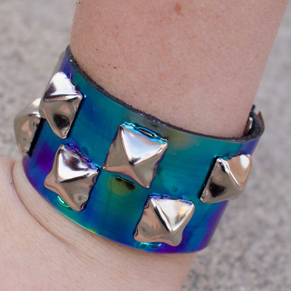 Cool Shades Iridescent Studded Leather Cuff