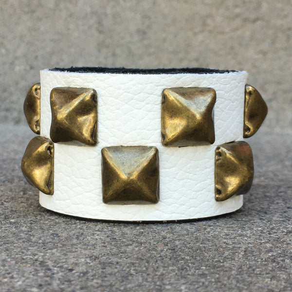 Ivory Studded Leather Cuff