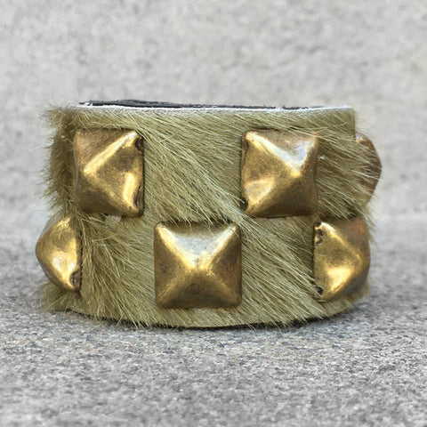 Light Olive Green Hair on Leather Studded Cuff