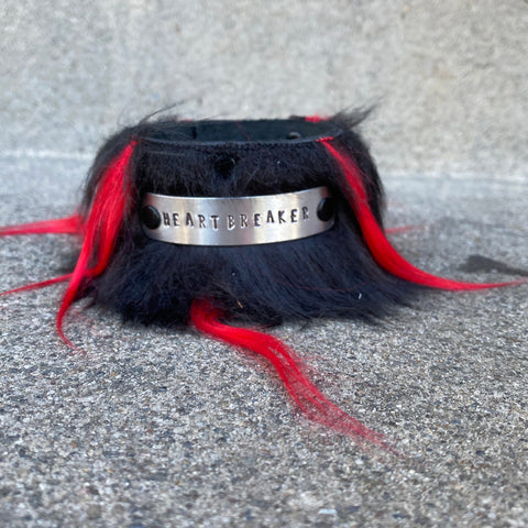 Black and Red HeartBreaker Faux Fur Cuff