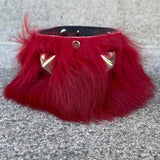 Deep Red Fur Cuff with Studs