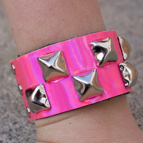 Bright Pink Iridescent Studded Cuff