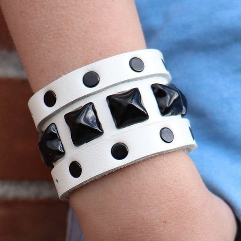 Buckle Up White Studded Cuff