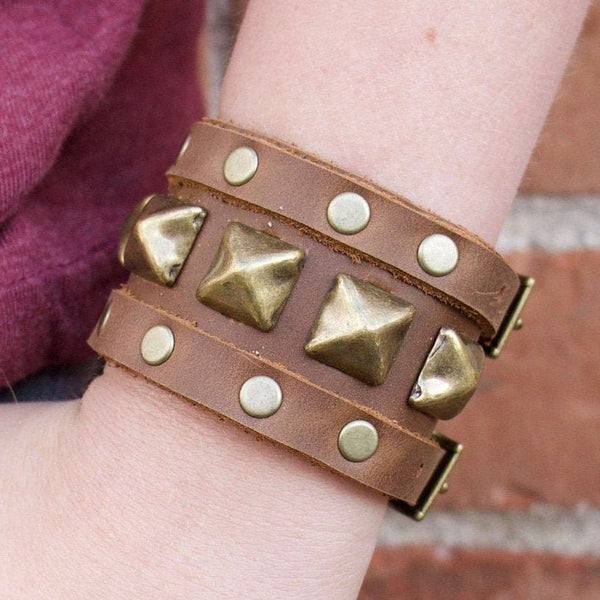 Buckle Up Brown Studded Cuff