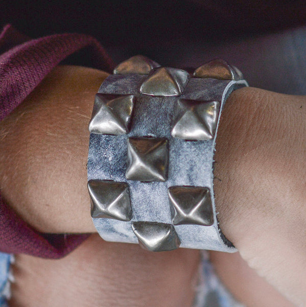 Monochrome Marble Leather Studded Cuff