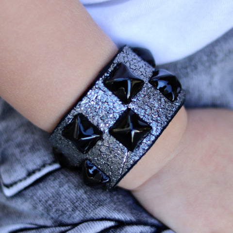 Metallic Silver Cracked Leather Cuff