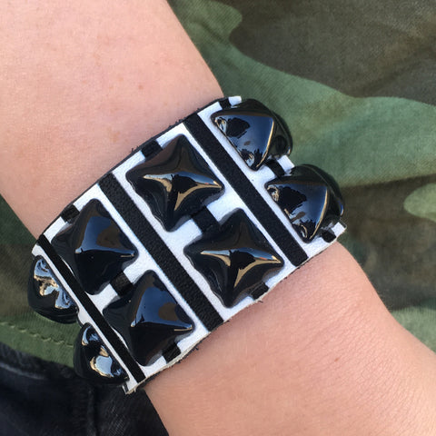 JailBird Black and White Striped Studded Cuff