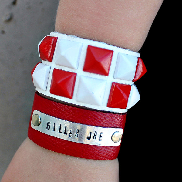 Pure Love Red and White Studded Cuff