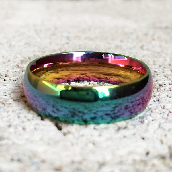 Rainbow Stainless Steel Ring, 6mm