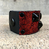 Metallic Red Vintage Crackle Studded Cuff