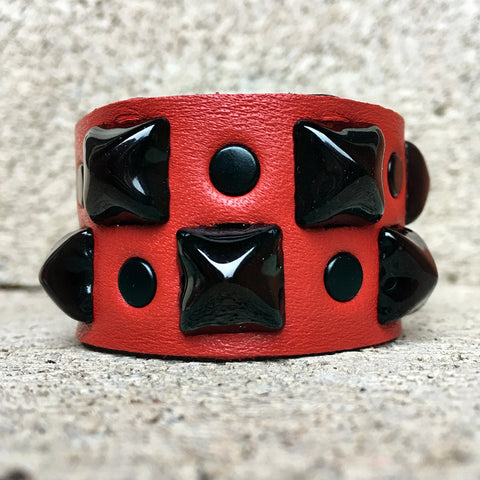 Red and Black Studded Cuff