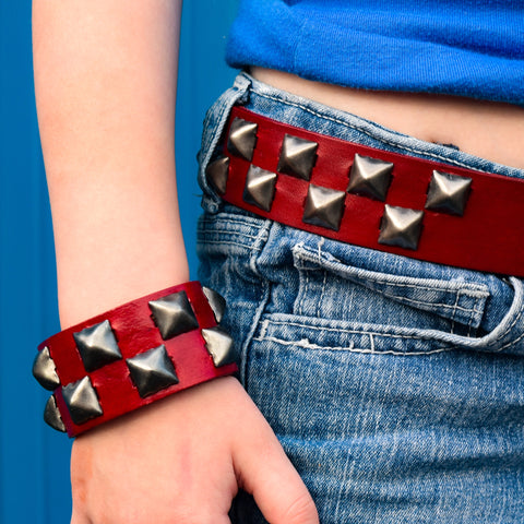 Red Leather Check Studded Belt