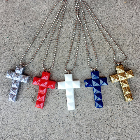 God Bless America Cross Necklace