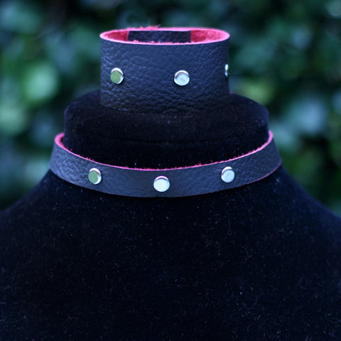 Reversible Black Rose Choker & Cuff Set