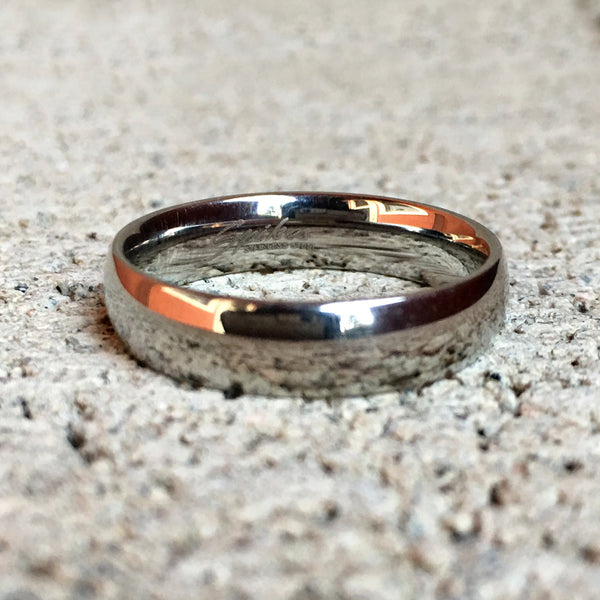 Polished Silver Stainless Steel Ring, 5mm