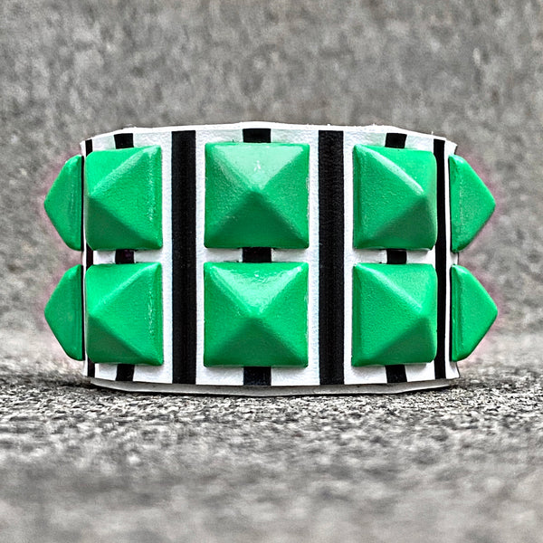Striped Cuff with Green Studs