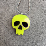 Neon Yellow Resin Skull Necklace