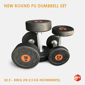 New Round PU Dumbbell Set 32.5 - 50kg
