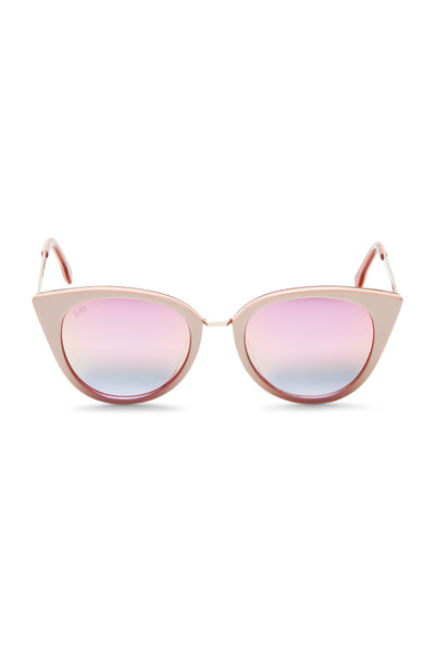 Cat-eye Blush Mirrored Acetate Sunglasses