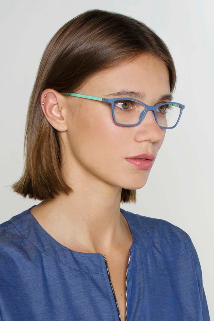 Frankie Classic Reading Glasses - Steel Blue & Mint