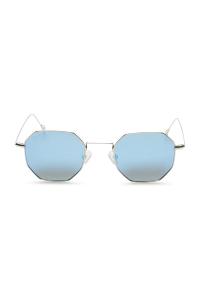 Arya Hexagon Retro Sunglasses - Silver Blue