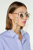 Smiley Big Eyeglasses Chain - Pearl White