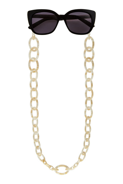 Smiley Small Eyeglasses Chain - Pearl White
