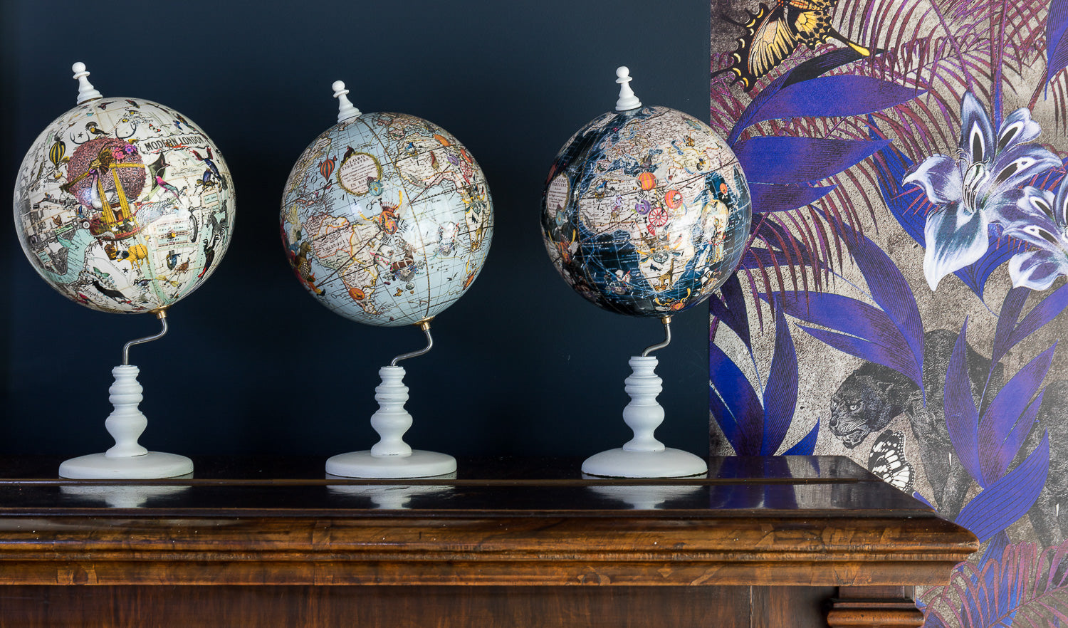 wallpaper and globes by Kristjana S Williams Interiors