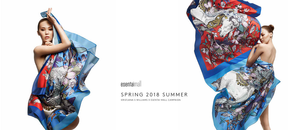 Silk Scarf for Essentai Mall by artist Kristjana S Williams