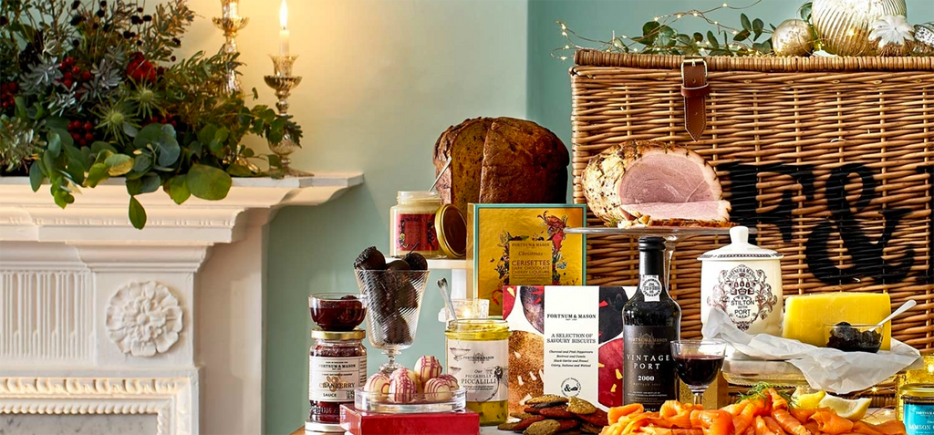 Fortnum & Mason Christmas Hampers with artist's Kristjana S Williams packaging designs