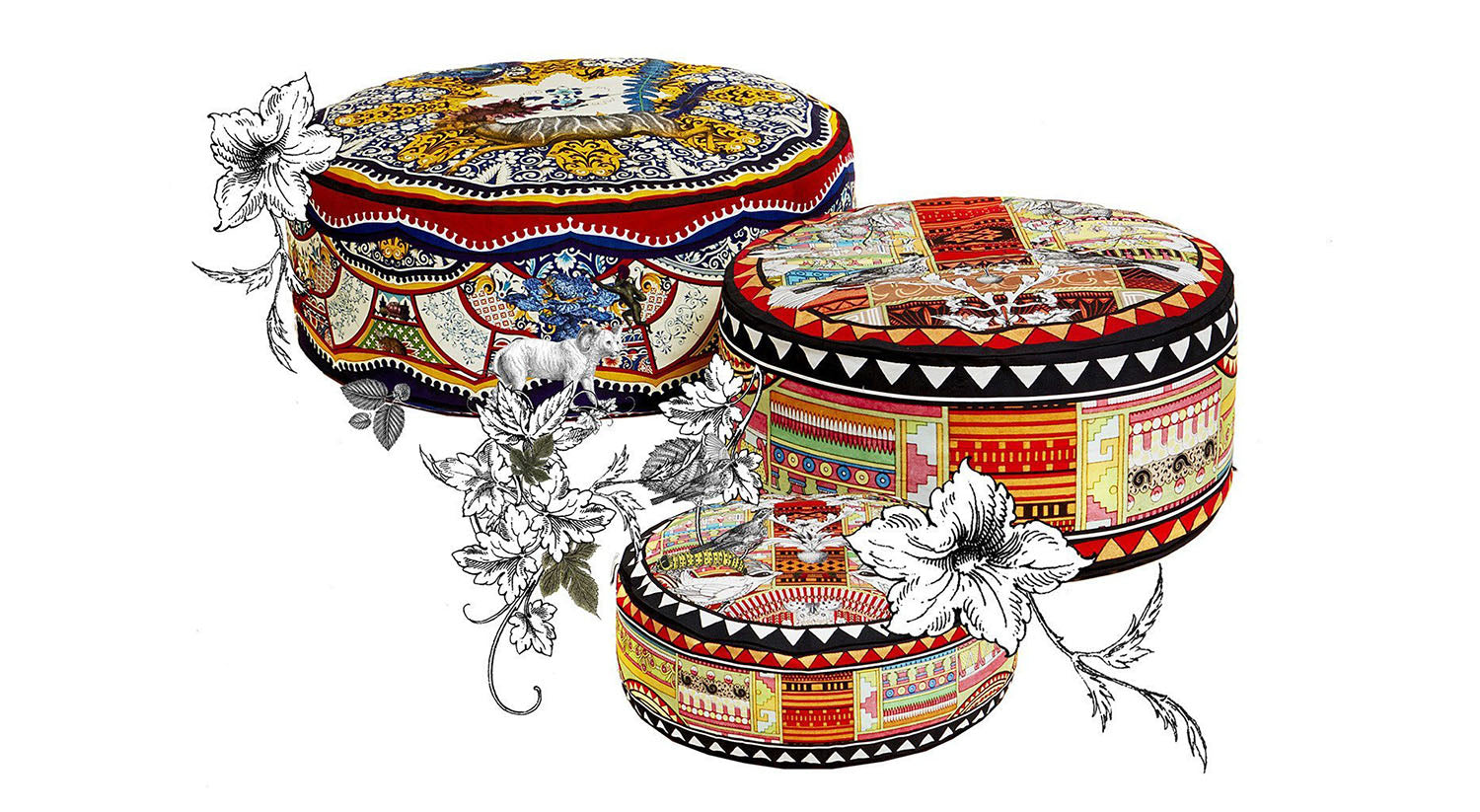 Pouffes soft furnishing by Kristjana S Williams Interiors