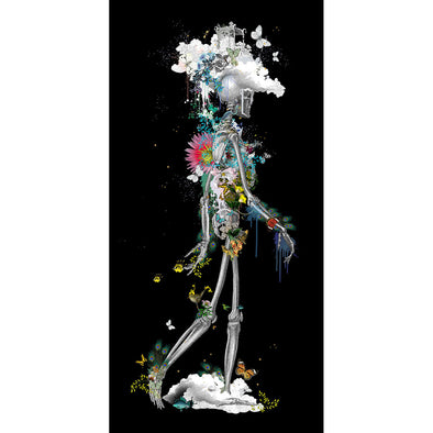 Ad moldu skaltu verda - Drifting Skeleton black - Art Print - Kristjana S Williams Studio