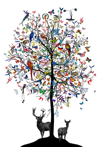 Tree and stag collage wall art print by artist Kristjana S Williams