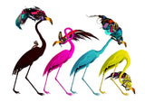 CMYK coloured flamingos wall print by artist Kristjana S Williams