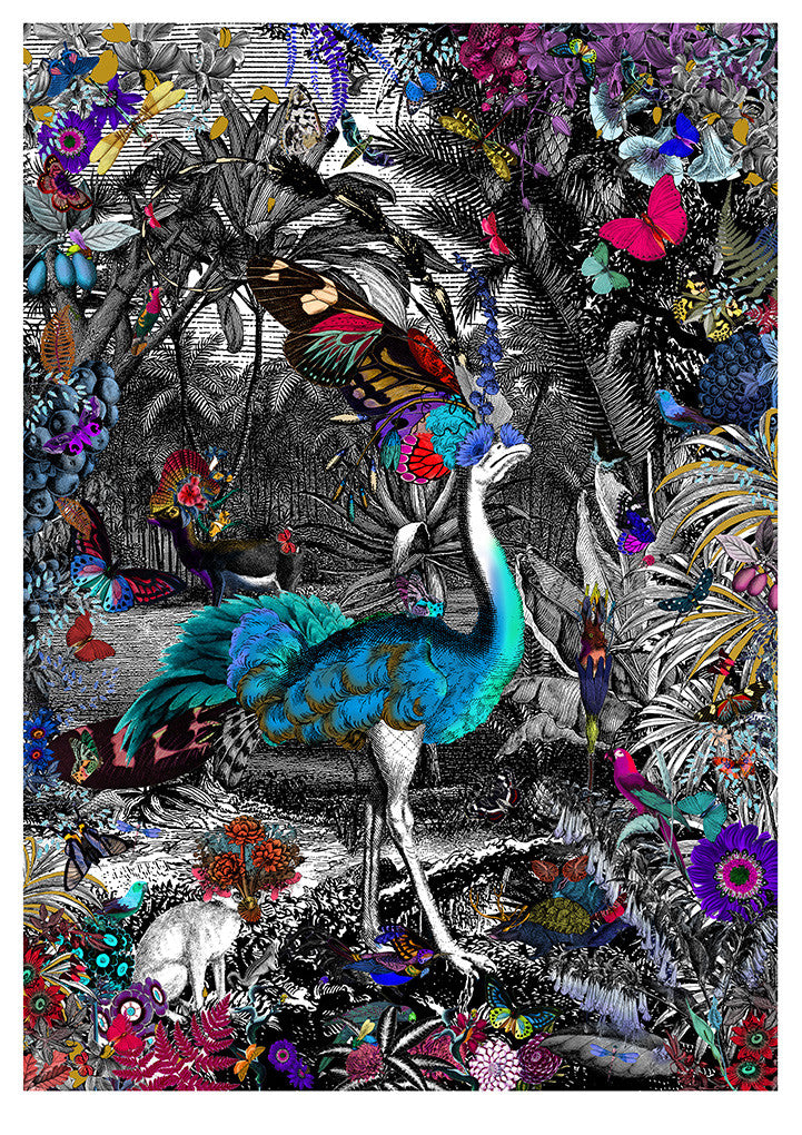 blue ostrich in the jungle graphic wall art by Kristjana S Williams