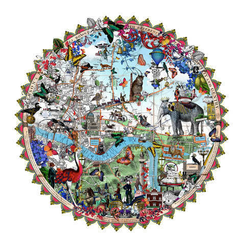East London Circular map Art Print by Kristjana S Williams