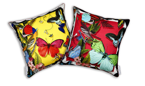 Bird & Butterfly Cushion silk