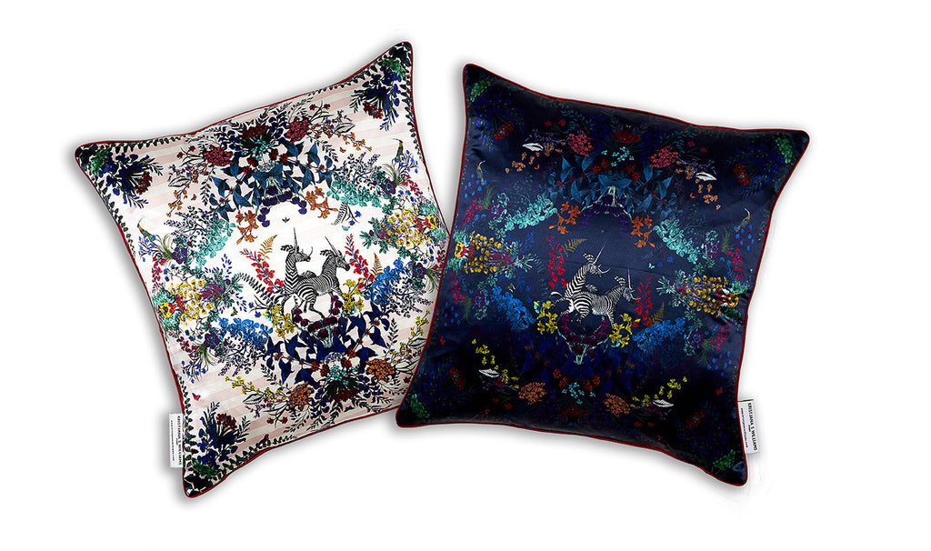 Blom Leaf Zebra Cushion silk