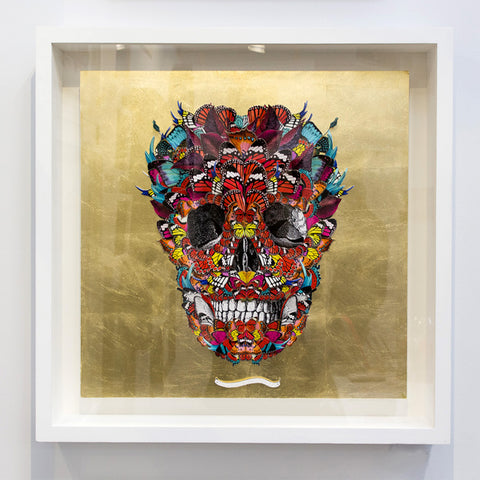 Original skull artwork on Gold leaf base by artist Kristjana S Williams