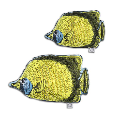 Butterfly Fish Yellow - Shaped Cushion - Kristjana S Williams Studio