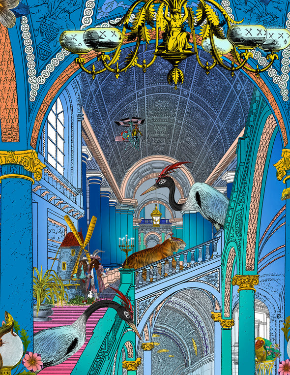 Cobalt Blue Palace - Art Print - Kristjana S Williams Studio