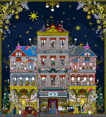 Edwardian building digital collage wall art by artist Kristjana S Williams