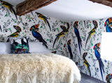 Parrot wall covering by artist Kristjana S Williams photographed by Innervaters