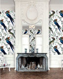 Parrot wall covering by artist Kristjana S Williams