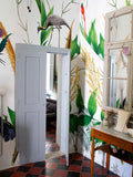 Giant ostrich and green plant wallpaper by artist Kristjana S Williams photographed by Amy at Innervaters