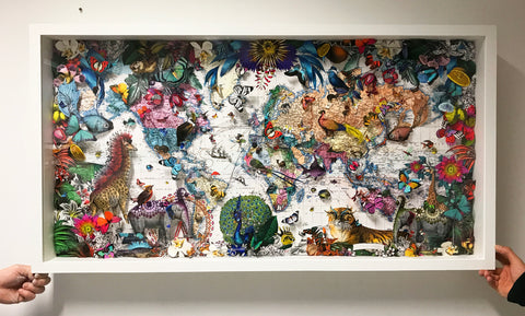 Peacock and Tigers World Map 2019 - Kristjana S Williams Studio