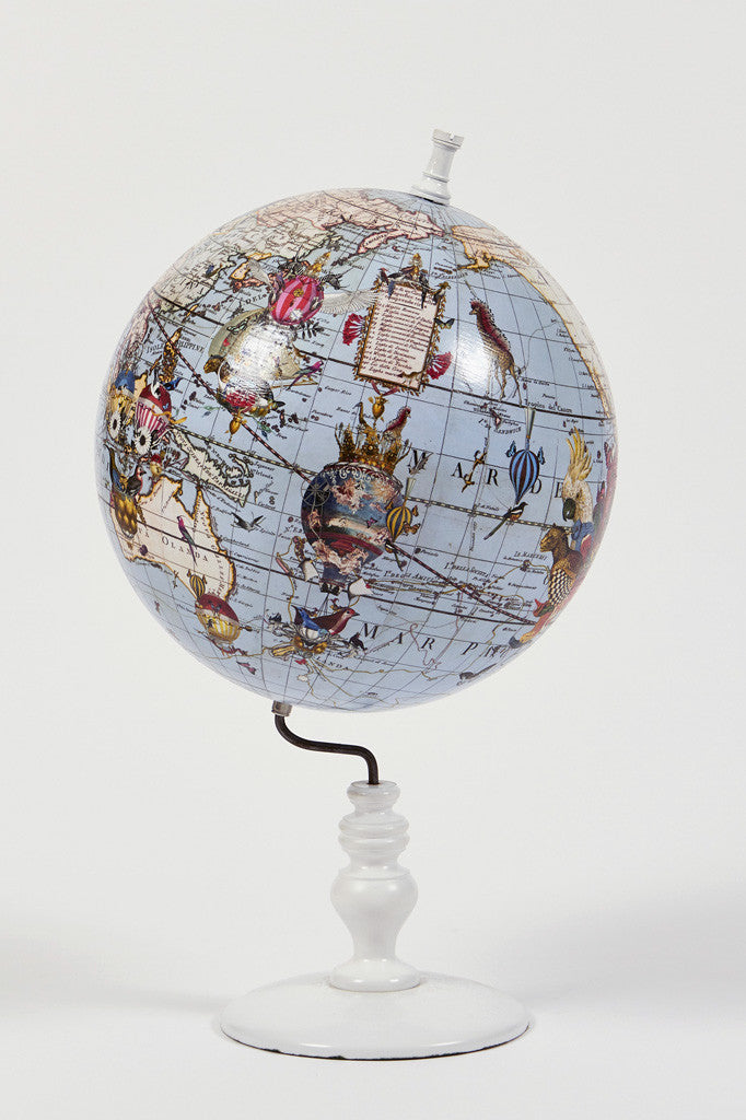 Wold Map Globe Pale Blue - Small