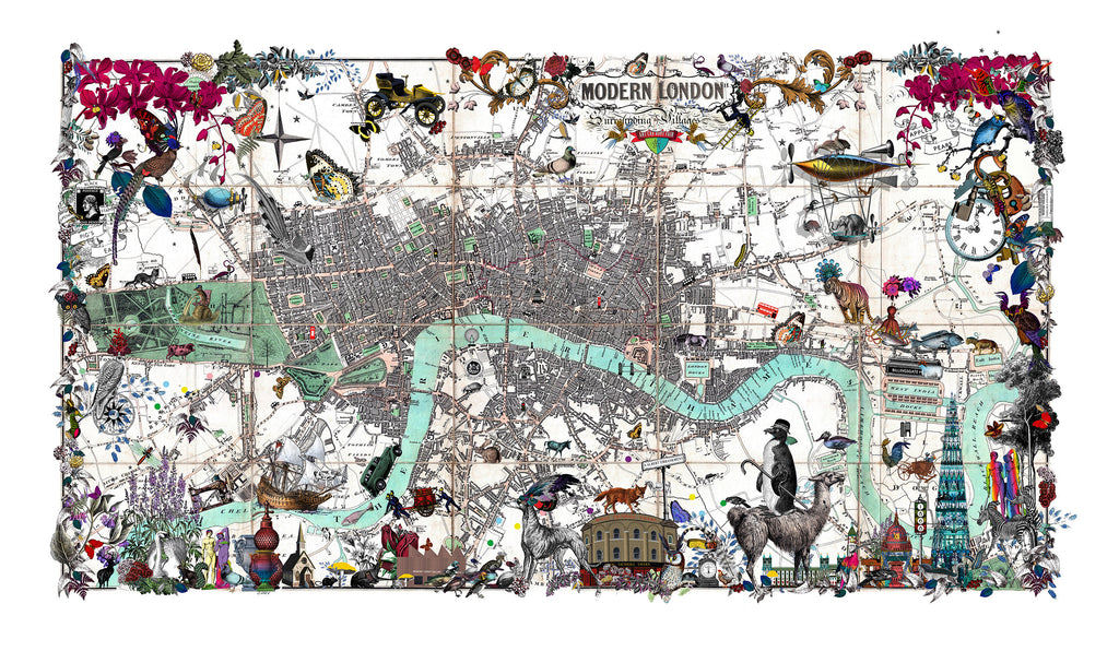 Lundunar Vauxhall Map - Art Car Boot Fair - Art Print - Kristjana S Williams Studio