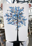 Mammalian Blue Folk Tree - Art Print - Kristjana S Williams Studio